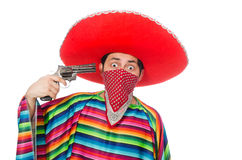 Funny mexican with weapon isolated on white Royalty Free Stock Image