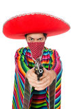 Funny mexican with weapon isolated on white Stock Photography