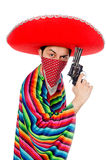 Funny mexican with weapon isolated on white Royalty Free Stock Photography