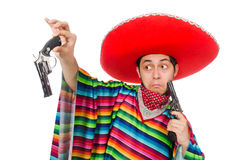 Funny mexican with weapon isolated on white Stock Image