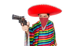 Funny mexican with weapon Royalty Free Stock Photography