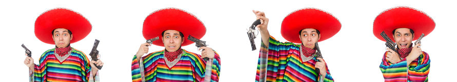 The funny mexican with weapon isolated on white Royalty Free Stock Photo