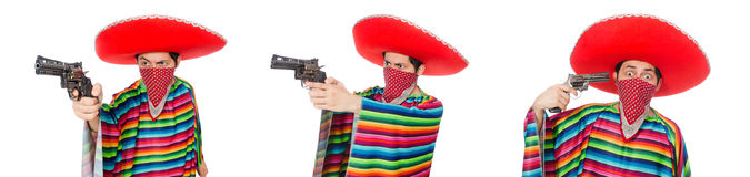 The funny mexican with weapon isolated on white Stock Images
