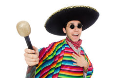 Funny mexican wearing poncho isolated on white Stock Images
