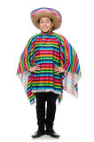 Funny mexican wearing poncho isolated on white Royalty Free Stock Photos