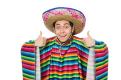 Funny mexican wearing poncho isolated on white Stock Photo