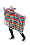 Funny mexican wearing poncho isolated on white Stock Photography