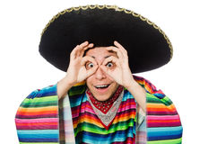 Funny mexican wearing poncho isolated on white Royalty Free Stock Photography