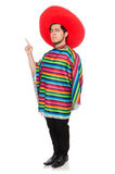 Funny mexican wearing poncho isolated on white Stock Photos