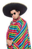 Funny mexican wearing poncho isolated on white Royalty Free Stock Photo