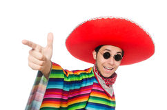 Funny mexican wearing poncho isolated on white Royalty Free Stock Images