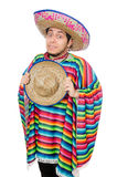 Funny mexican wearing poncho isolated on white Royalty Free Stock Image
