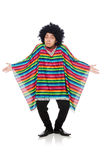 Funny mexican wearing poncho isolated on white Stock Image