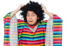 Funny mexican wearing poncho Stock Photos