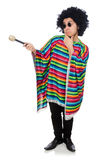 Funny mexican wearing poncho with maracas isolated Stock Images