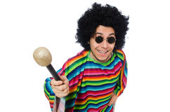 Funny mexican wearing poncho with maracas isolated Royalty Free Stock Photos