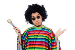 Funny mexican wearing poncho with maracas isolated Stock Photos