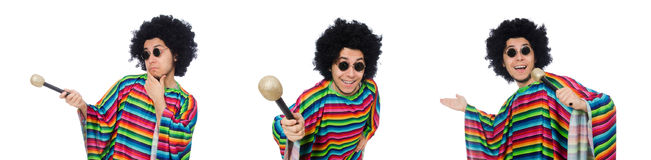 The funny mexican wearing poncho with maracas isolated on white Royalty Free Stock Photography