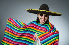 Funny mexican wearing sombrero hat Stock Photos
