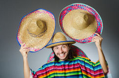 Funny mexican wearing sombrero hat Royalty Free Stock Images