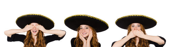 Funny mexican woman in hear see speal Royalty Free Stock Images