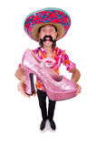 The funny mexican with woman shoe on white Royalty Free Stock Photo