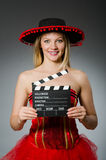 Funny mexican woman with sombrero Royalty Free Stock Photos