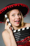 Funny mexican woman with sombrero Stock Images