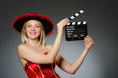 Funny mexican woman with sombrero Royalty Free Stock Photo