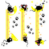 Funny mice. Baby height measure with funny mice (vector in proportions 1:10, jpeg 1:3 Stock Photography