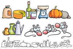 Funny mice and kitchen items. Vector illustrations with kitchen items and funny mice Stock Photos
