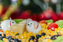 Funny mice made of eggs on a festive plate Royalty Free Stock Photos