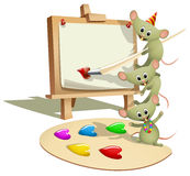 Funny Mice Teaching How to Paint. Vector illustration of a wooden easel with blank canvas and funny stacking mice, top mouse holding a paintbrush. The palette Stock Photography