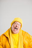 Funny man portrait real people high definition grey background Stock Photography