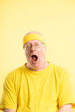Funny man portrait real people high definition yellow background Stock Images