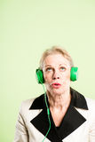 Funny woman portrait real people high definition green backgroun Stock Photo