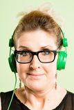 Funny woman portrait real people high definition green background stock photo