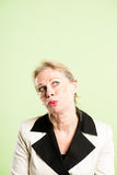 Funny woman portrait real people high definition green backgroun Royalty Free Stock Image