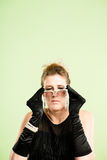 Funny woman portrait real people high definition green background royalty free stock photo