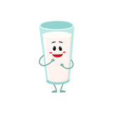 Funny milk glass character with a shy smile Stock Images