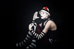 Funny mime on black background Royalty Free Stock Photos
