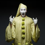 Funny mime. Show surprised face stock image