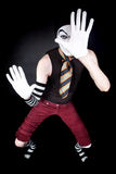 Funny mime in white gloves Stock Image