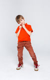 Funny mischievous boy in bright casual clothes at white studio background. Portrait of funny mischievous boy in bright casual clothes at white studio background Stock Photography