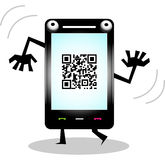 Funny Mobile Phone Character. Funny Dancing Mobile Phone Character Royalty Free Stock Images