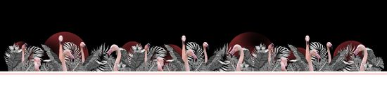 Funny and modern summer tropical background with exotic palm leaves and flamingo Stock Image