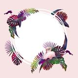 Funny and modern summer tropical background with exotic palm leaves and flamingo Royalty Free Stock Photos