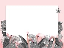 Funny and modern summer tropical background with exotic palm leaves and flamingo Stock Photography