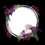Funny and modern summer tropical background with exotic palm leaves and flamingo Stock Photos