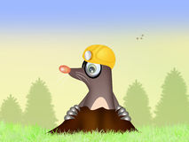Funny mole in the den. Illustration of mole in the den Stock Image